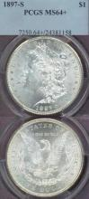 1897-S $ MS-64+ US Morgan silver dollar