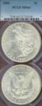 1890 $ PCGS MS-64 Morgan Silver Dollar PCGS MS-64