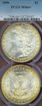 1890 $ MS-64+ Morgan silver dollar