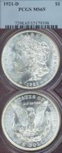 1921-D $ MS-65 US Morgan silver dollar PCGS MS65