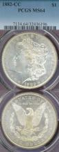 1882-CC $ US Morgan silver dollar PCGS MS-64