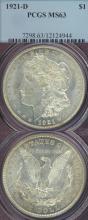 1921-D $ MS-63 US Morgan silver dollar