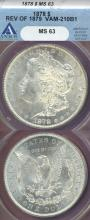 1878 $ 7 Tail Feathers Rev. 1879 VAM-210B1 US Morgan silver dollar ANACS MS-63