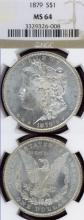1879 $ US Morgan silver dollar PCGS MS-65