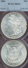 1896 $ US Morgan silver dollar PCGS MS-64
