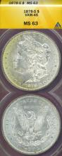1878-S $ US Morgan silver dollar ANACS MS-63 VAM-46