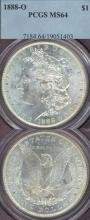 1888-O $ US Morgan silver dollar PCGS MS-64