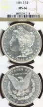 1881-S $ US Morgan silver dollar NGC MS-66