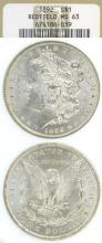 1892 US Morgan silver dollar from theRedfield Hoard