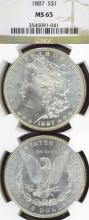 1887 $ US Morgan silver dollar NGC MS-65