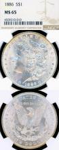 1886 $ US Morgan silver dollar NGC MS-65