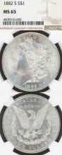 1882-S $ US Morgan silver dollar NGC MS-65