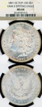 1891-CC $ US Morgan silver dollar Carson City mint