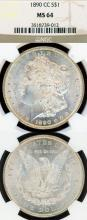 1890-CC $ US Morgan silver dollar Carson City Mint