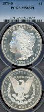 1879-S $ US Morgan silver dollar PCGS MS 65 PL