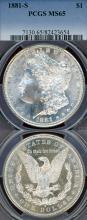 1881-S $ US Morgan silver dollar PCGS MS-65