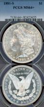 1881-S $ US Morgan silver dollar PCGS MS-64+