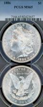 1886 $ US Morgan silver dollar PCGS MS-65