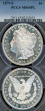 1879-S $ US Morgan silver dollar PCGS MS-65 Prooflike