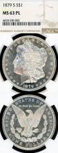1879-S $ MS-63 Prooflike US Morgan silver dollar NGC MS 63 PL