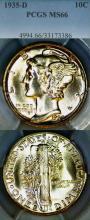 1935-D 10c US Mercury silver dime PCGS MS 66