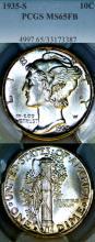 1935-S 10c US Mercury silver dime PCGS MS 65 Full Bands