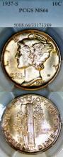 1937-S 10c US Mercury silver dime PCGS MS-66