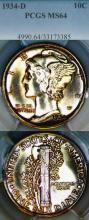 1934-D 10c US Mercury silver dime PCGS MS 64