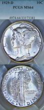 1929-D 10c US silver Mercury dime PCGS MS 64