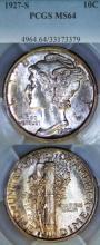 1927-S 10c US Mercury silver dime PCGS MS-64