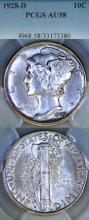 1928-D 10c US silver Mercury dime PCGS AU 58