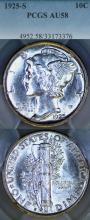 1925-S 10c US Mercury silver dime PCGS AU-58