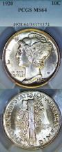 1920 10c US Mercury silver dime PCGS MS 64