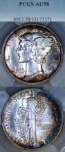 1917-D 10c US Mercury silver dime PCGS AU 58