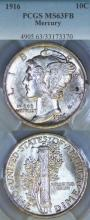 1916 10c US Mercury silver dime PCGS MS 63 FB