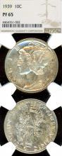 1939 10c PROOF US Mercury silver dime NGC PR 65