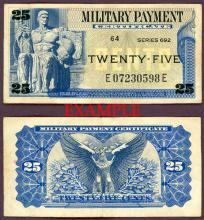 Series 692 25 Cents US military payment certificate