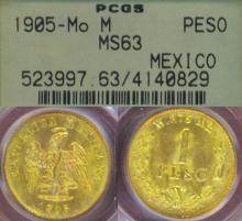1905 MO/M 1 Peso Gold Mexican gold coin