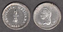 1860 MO 1/4 Real Mexican collectable coins