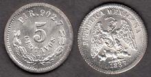 1887 PiR 5 Centavos Mexican collectable coins