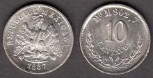 1887 MoM 10 Centavos Mexican collectable coins
