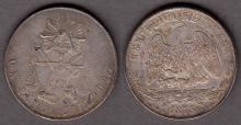 1873 Zs/H Peso Mexico silver peso
