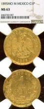 1895 MO M 1 Peso Gold Mexico coin