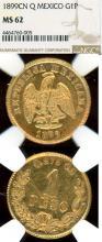 1899 CN Q 1 Peso Gold Mexico coins