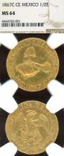 1867 C CE 1/2 Escudo collectable mexican coins
