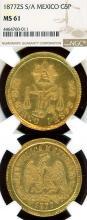 1877 ZS/SA 5 Peso Gold Collectable mexican gold coins