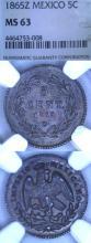 """1865-Z 5 Centavos """"Maximilian"""" Collectable mexican silver coin"""