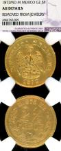 1872 MO M 2.50 Peso Gold Collectable Mexican gold coins