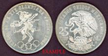 """1968 25 Peso """"Low Ring"""" collectable mexican silver coin"""