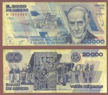 1988 20,000 Pesos Mexican paper money